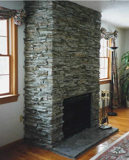 Cultured stone (stone veneer, decorative stone) for fireplaces