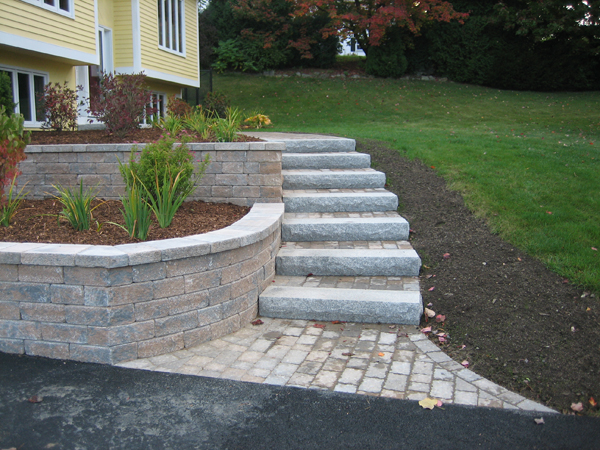 Nh Front And Backyard Landscaping With Stone Masonry Al S